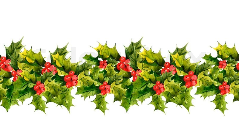8142010-christmas-holly-watercolor-seamless-background